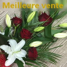 bouquet de 4 roses rouges et 2 lys blancs